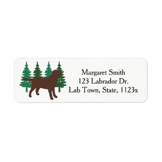 Etiqueta Árvores verdes quatro do esboço de Labrador do