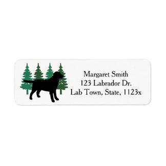 Etiqueta Árvores verdes quatro do esboço preto de Labrador