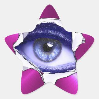 Etiqueta assustador azul e roxa do globo ocular