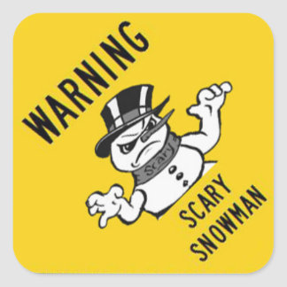 Etiqueta assustador de advertência do boneco de