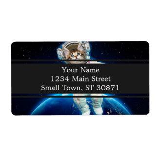 Etiqueta Astronauta do gato - gato do espaço - amante do