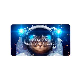 Etiqueta Astronauta do gato - gatos no espaço - espaço do