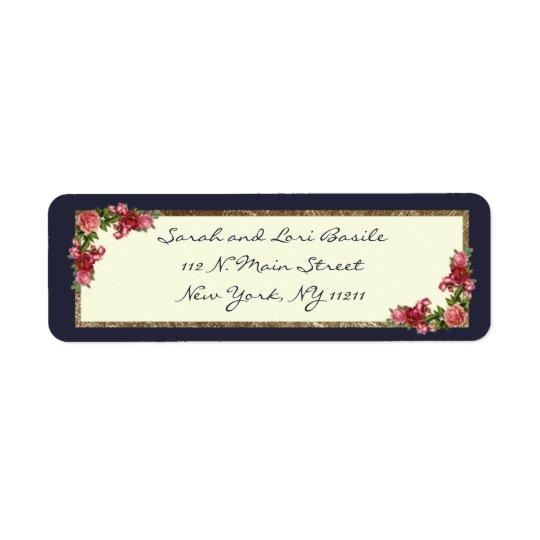 Etiqueta Azuis marinhos dos rosas e convites do doce 16 do