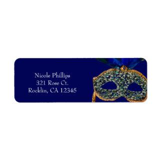 Etiqueta Azul & convite de festas do mascarada do pavão do