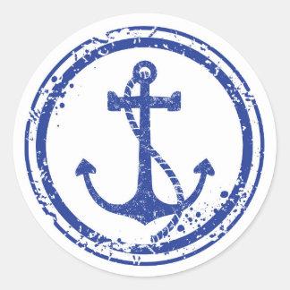 """Etiqueta azul da âncora do vintage náutico - 1,5"""""""