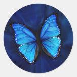 Etiqueta azul da borboleta adesivo redondo