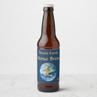 Etiqueta azul da cerveja da terra do planeta