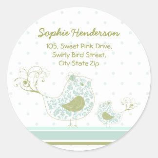 Etiqueta azul da etiqueta de endereço do pássaro