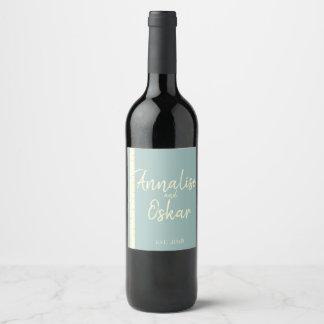 Etiqueta azul da garrafa do casamento do vidoeiro
