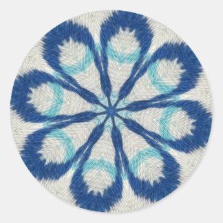 Etiqueta azul da mandala de pano adesivo em formato redondo