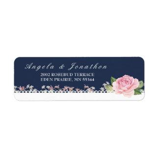 Etiqueta Azul da meia-noite floral e cor-de-rosa elegantes