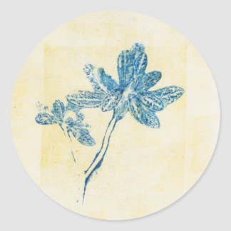 Etiqueta azul da planta da folha de Monoprint