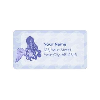 Etiqueta Azul de assento da sereia