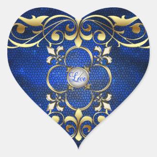 Etiqueta azul do amor do vitral do coração do adesivo coração