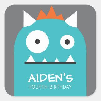 Etiqueta azul do aniversário do monstro adesivo quadrado
