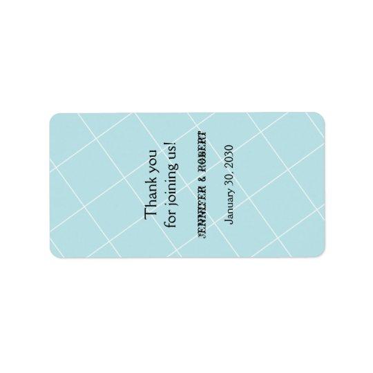 Etiqueta azul do bálsamo de bordo do casamento de etiqueta de endereço
