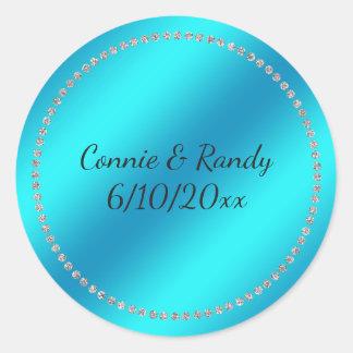 Etiqueta azul do casamento da cerceta adesivo