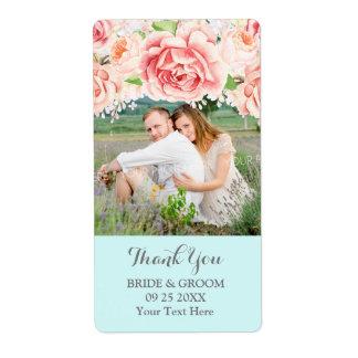 Etiqueta azul do casamento da foto do Lilac da
