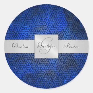 Etiqueta azul do casamento do monograma do vitral adesivos redondos