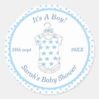 Etiqueta azul do chá de fraldas do bebé