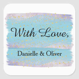 Etiqueta azul do convite do casamento da aguarela adesivo quadrado