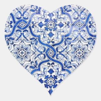 Etiqueta azul do coração de Azulejo do português Adesivo Coração