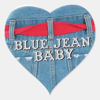 Etiqueta azul do coração do bebê de Jean Adesivo Coração