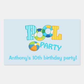 Etiqueta azul do quadrado da festa na piscina