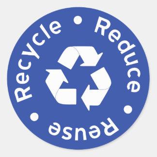 Etiqueta azul do símbolo do reciclagem adesivo