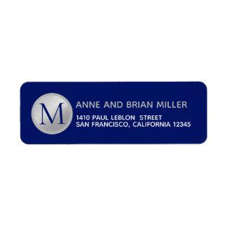 Etiqueta azul do Sr. Sra. sobrenome monograma