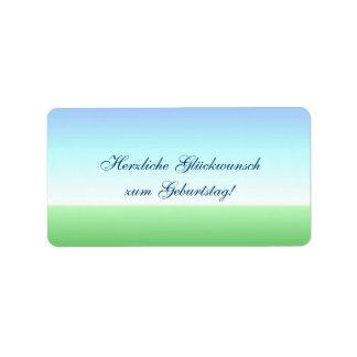 Etiqueta azul do verde alemão do feliz aniversario etiqueta de endereço
