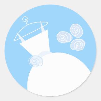 Etiqueta azul do vestido de casamento redonda