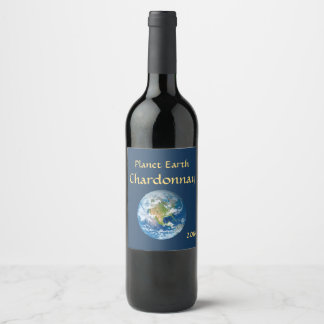 Etiqueta azul do vinho da terra do planeta