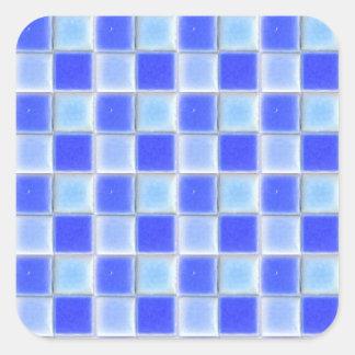 Etiqueta azul dos azulejos do mosaico do tabuleiro