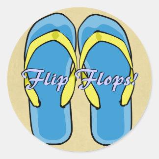 Etiqueta azul dos flip-flops adesivo em formato redondo