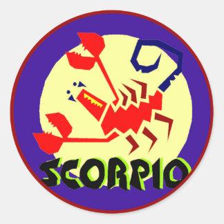 Etiqueta azul e amarela vermelha da Escorpião do Adesivo
