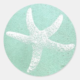 Etiqueta azul e branca da estrela do mar