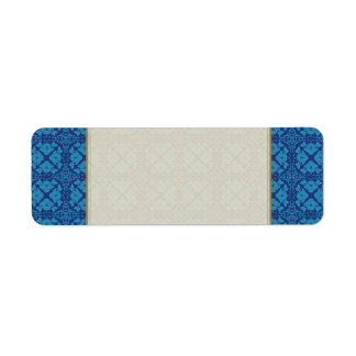 Etiqueta Azul em Patttern geométrico floral azul