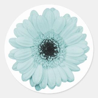 Etiqueta azul feminino com a flor bonita do adesivo
