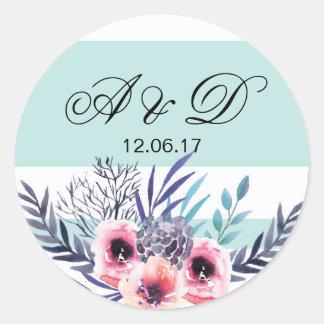 Etiqueta azul floral das etiquetas do casamento da adesivo