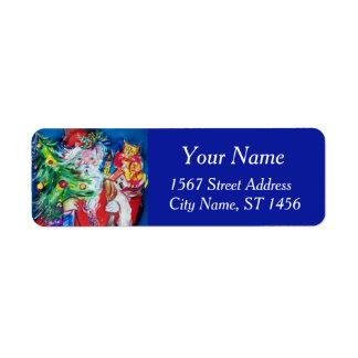 Etiqueta Azul vermelho de PAPAI NOEL, de ÁRVORE de NATAL E