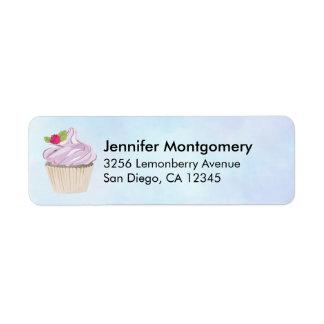 Etiqueta Baga cor-de-rosa deliciosa do cupcake na parte