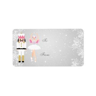 Etiqueta Bailarina do Natal & Nutcracker, flocos de neve