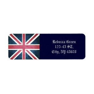 Etiqueta Bandeira britânica do jaque de união de Reino