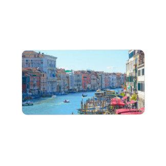 Etiqueta Barcos nos canais de Veneza Italia