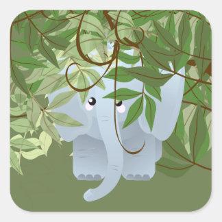 Etiqueta Bashful do partido dos animais da selva Adesivo Quadrado
