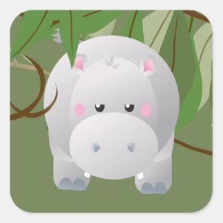 Etiqueta Bashful do partido dos animais da selva d Adesivo Quadrado