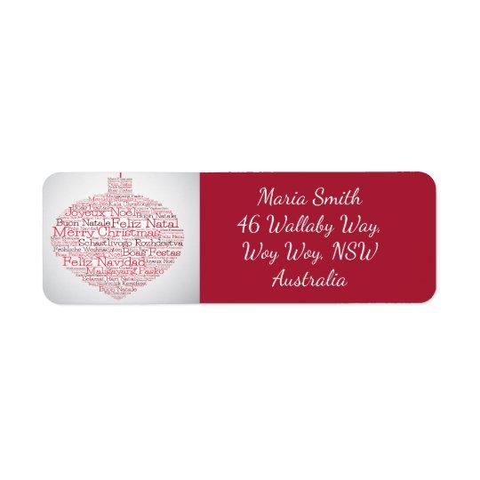 "Etiqueta Bauble feito do ""das palavras Feliz Natal"