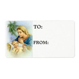 Etiqueta Bebê abençoado Jesus da mãe da Virgem Maria