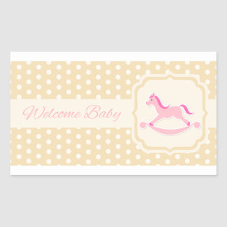 Etiqueta bem-vinda da menina do rosa de bebê